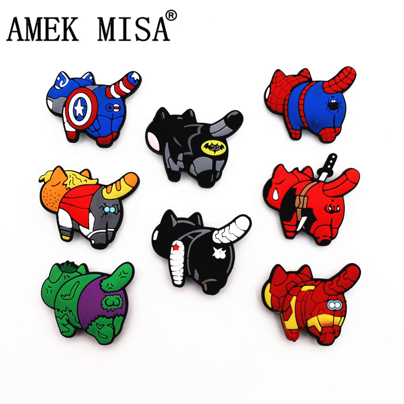 1Pcs Avengers-Back Cats Style PVC Croc Shoe Charms Accessories Spoof Superhero Shoe Decoration For Jibz Kid's Party X-mas Gift