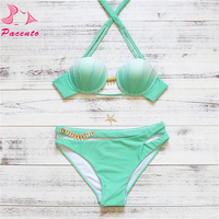 Comprar Pacent Shell traje de baño mujer verde lentejuelas Bikini 2017 brasileño Bikini Set vendaje recortado Halter traje de baño femenino