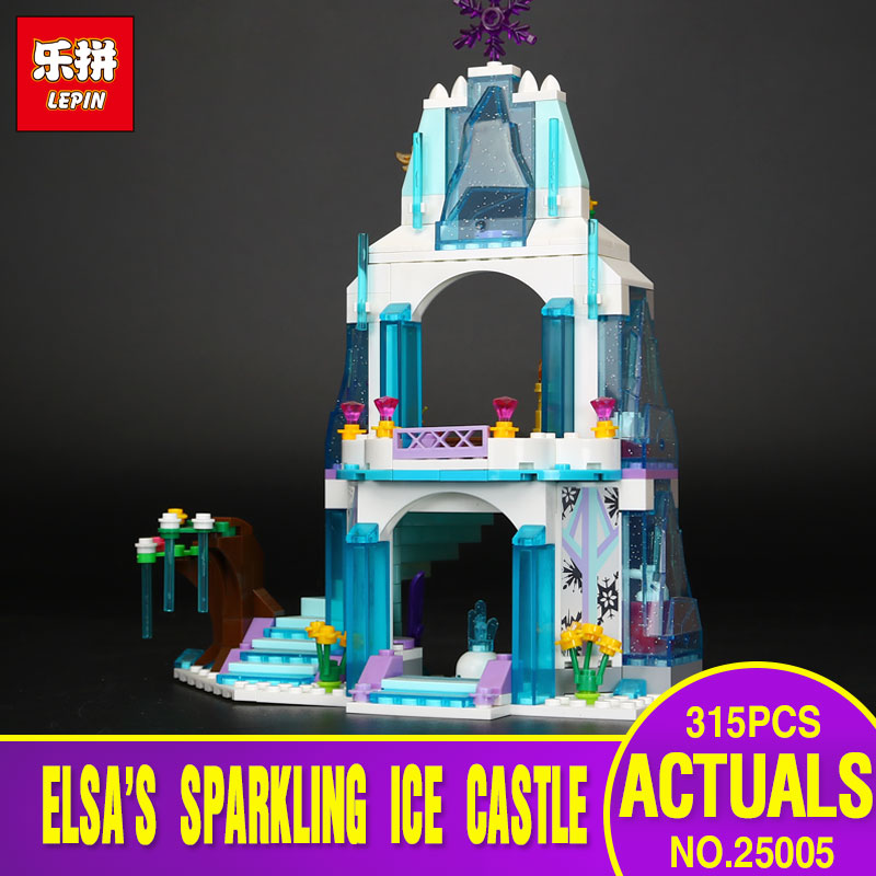 Lepin 25005 Girl Series Elsa's Sparkling Ice Castle Model Anna Elsa Queen Kristoff Olaf Building Blocks Toys SY373 With 41062 sy c4 protective plastic back case w dual sim card single pass for iphone 4 4s black white
