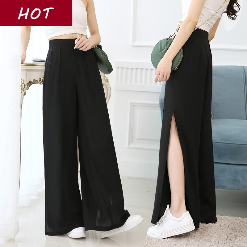 Brand New 2019 summer Wide Leg Pants Black Sexy full length Culottes Pants capri 2xl Plus Size Loose Women Clothing Pants Woman