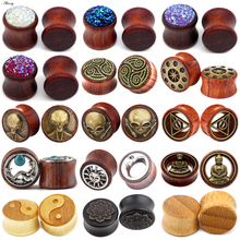 Gauges Earrings Jewelry Expander Wood-Ear-Plugs Flesh-Tunnel Piericing-Stretcher Bamboo