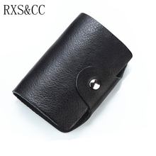 RXS&CC Men's & Women's New Card Holder Top Genuine Leather Buckle Credit Card Holder Bag 26 Multi-color Card Holder