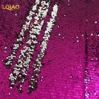 125 45CM 5mm Silver African Sparkly Embroidered Lace Mermaid Reversible Sequin Fabric For Clothes Wedding Decor