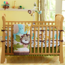 Bett Stoßfänger 100% Baumwolle Cartoon Nette Wald Tier Atmungs Baby Bettlaken Quilt Bett Rock Baby Krippe Bettwäsche Sets Unisex(China)