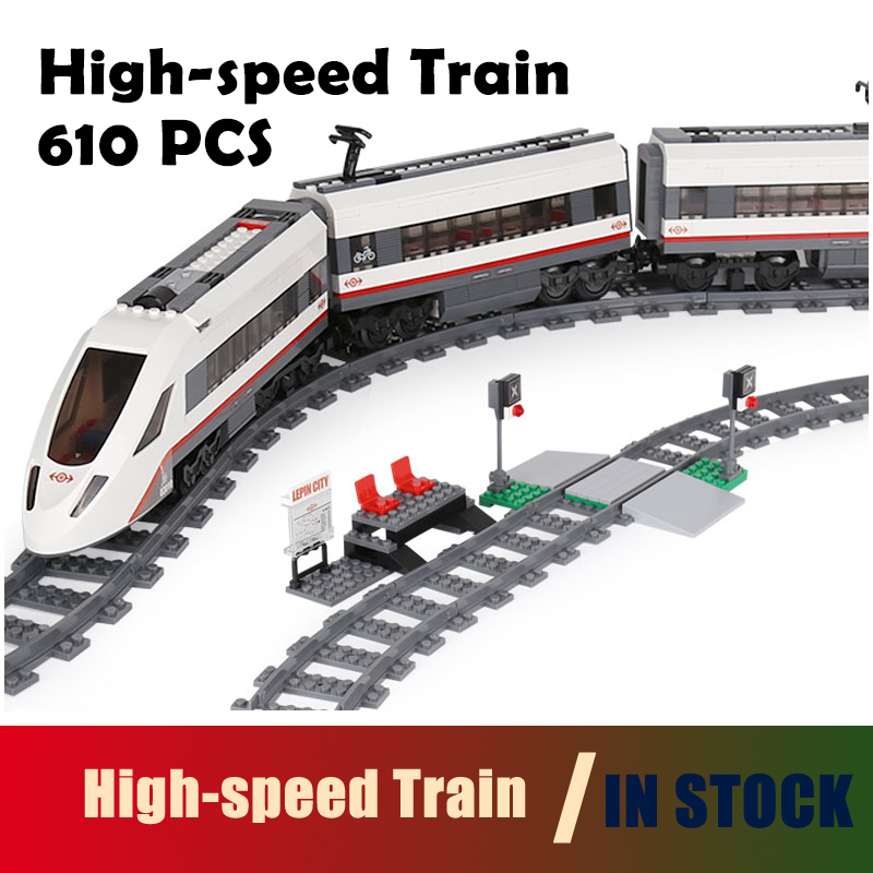 Compatible With Lego 02010 City Trains High-speed Passenger Train Model Building Blocks Motors Power Function Bricks Gift 60051 lepin 02012 city deepwater exploration vessel 60095 building blocks policeman toys children compatible with lego gift kid sets