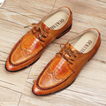 men's fashion office party dress crocodile pattern cow leather bullock shoes breathable carved brogue shoe flats oxfords loafers