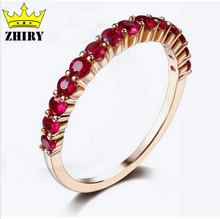 18K real gold Real gold Ruby ring 0.7 carat 100% natural gem stone genuine Yellow gold woman rings elegant Fine jewelry