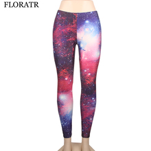 FLORATA New slim Women legging pants Star galaxy digital printing bottoming sexy pencil pants space waist