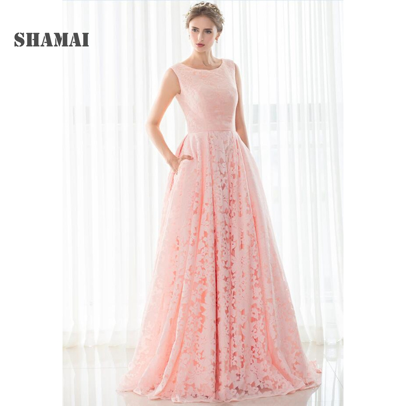 SHAMAI Pageant Evening Celebrity Long Prom Dress Vestidos De Novia Pink Lace prom dresses In stock Women Formal Occasion Gown
