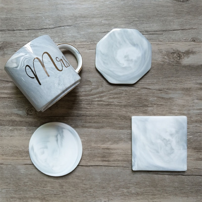 10pcs  lot marble patten ceramic coasters cup pad mat heat insulation table bowl mats coffee tea