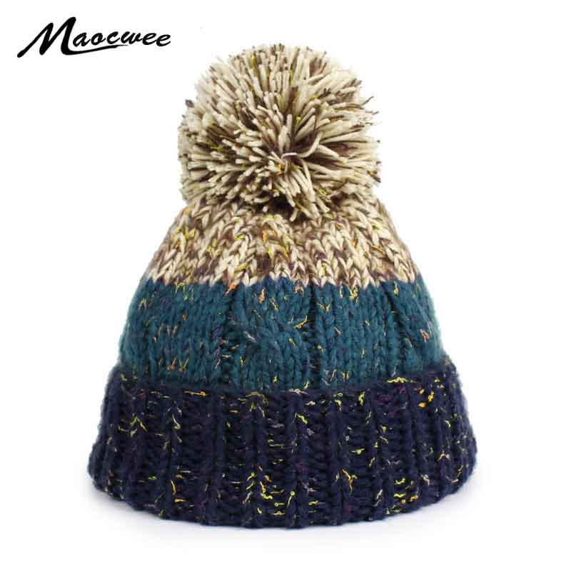 Brand Winter   Beanies   For Women Knitted Acrylic Hat Mix Colors   Skullies     Beanies   Knit Big Pompom Caps Female Winter Hat Bone Gorra