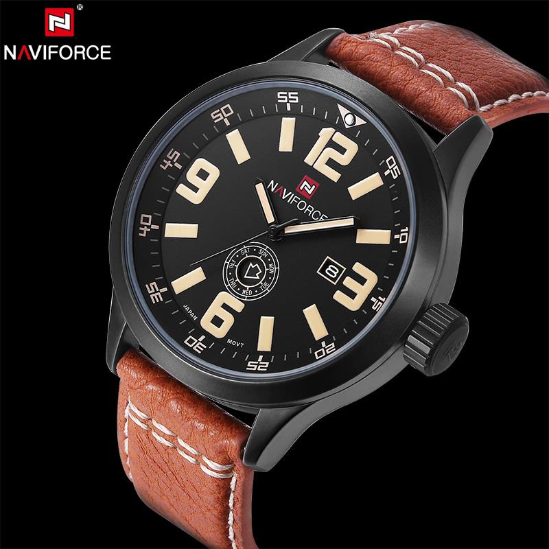 Prix pour NAVIFORCE D'origine Marque De Luxe De Mode Montre À Quartz Hommes En Cuir Casual Étanche Horloge Militaire Montre-Bracelet Relogio Masculino