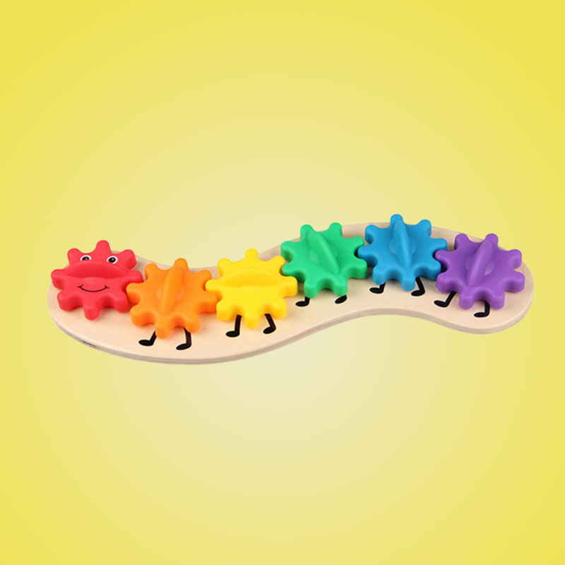 Kids Colorful Gear Caterpillar Toy Children Wooden Puzzle Twisting Baby colorful pineapple ru bun lock children puzzle toy building blocks