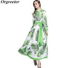 6ddc16001c9c913 С лацканами Бабочка Листья рубашка с принтом летние платья Для женщин 2018  Vestido Largo Verano Mujer