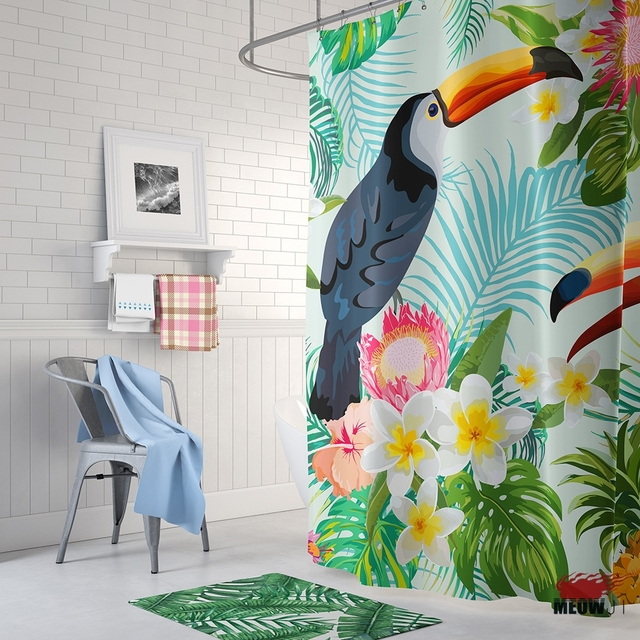 Foret Tropicale Jungle Toucan Rideau De Douche Imprime Polyester