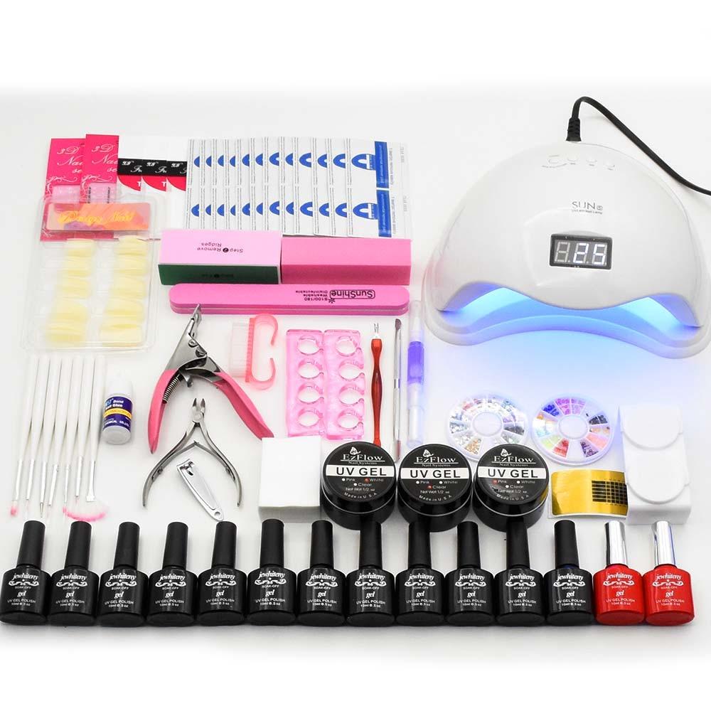 48 Вт УФ светодиодный ногтей лампа Сушилка Маникюр комплект 12 Цветов ногтей Гель-лак комплект UV гель Лаки ногтей комплект Книги по искусству ...