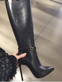 New Designer Women's Black Leather Pointed Toe Thin Heel Knee High Boots Black Leather Stilleto Tall Boots Drop Shipping