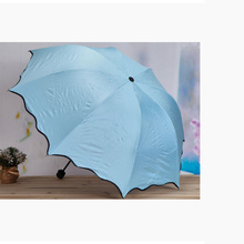 Multi-color water bloom flower umbrella Black plastic super strong UV sun Creative manual three-fold