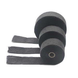 Image 4 - ZSDTRP 5cm*5M 10M 15M Titanium/Black Exhaust Heat Wrap Roll for Motorcycle Fiberglass Heat Shield Tape with Stainless Ties