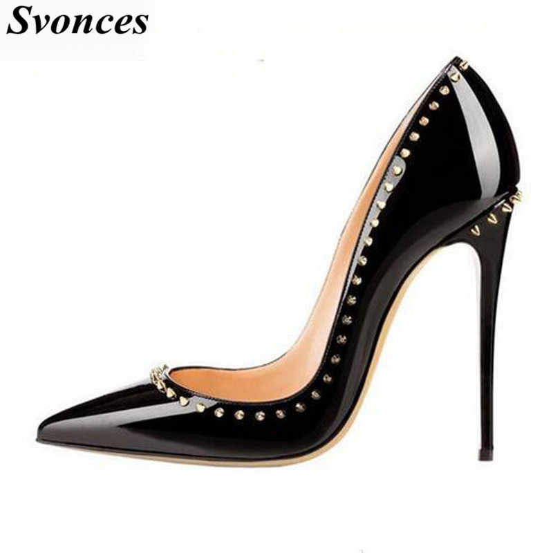 12cm Nude Wedding Black Leather Women Pigalle Patent Shoes
