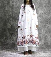 New Vintage Ethnic Embroidery Spring Autumn Dress Women O Round Neck Irregular Cotton Linen Maxi Causal