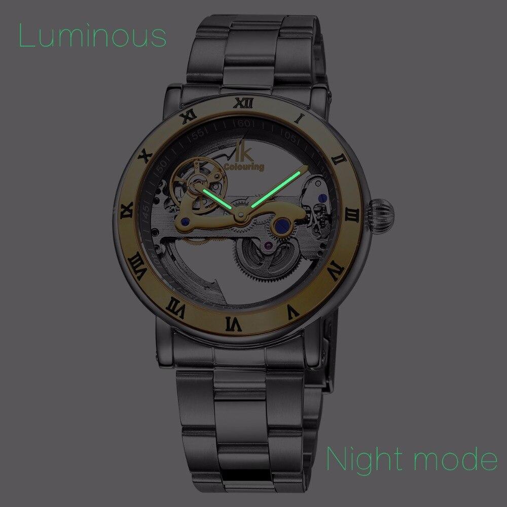 Oryginalne IK 2019 Tourbillon automatyczne mechaniczne zegarki męskie zegarek w całości ze stali nierdzewnej zegarek mody mężczyzna Relogios Masculino w Zegarki mechaniczne od Zegarki na  Grupa 2