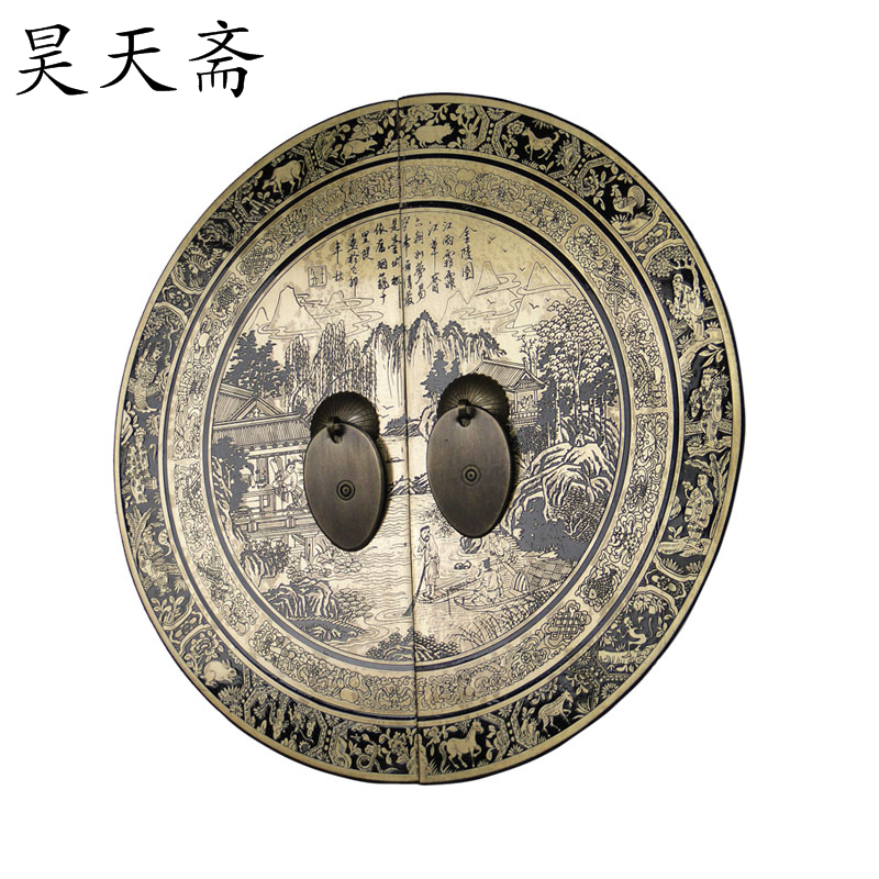 [Haotian vegetarian] Chinese antique Ming and Qing furniture copper fittings door handle money HTB-139 butterfly landscape secti antique chinese antique furniture copper fittings metal door latch bolt windows