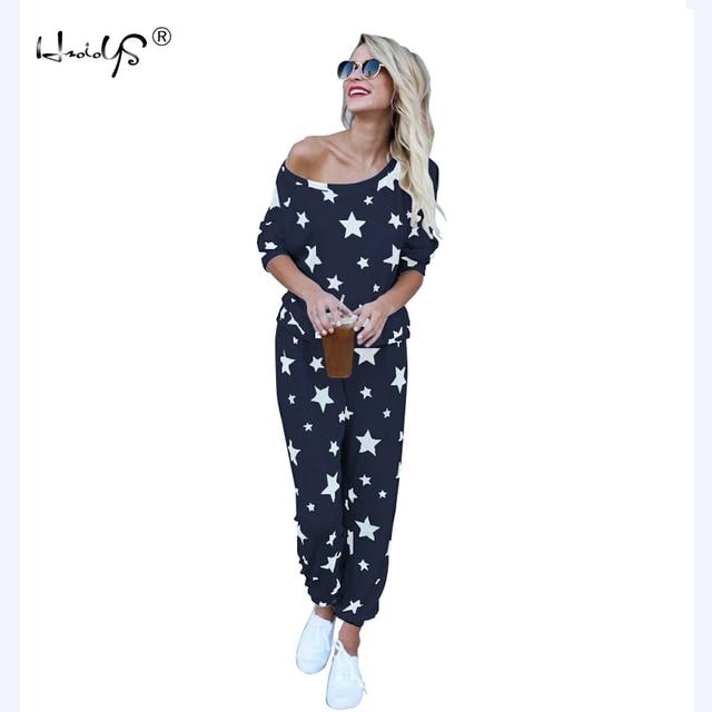 Женский пижамный комплект со звездами, Осень зима, мягкая удобная Пижама, домашний костюм, женская пижама, топ и штаны, пижамный комплект