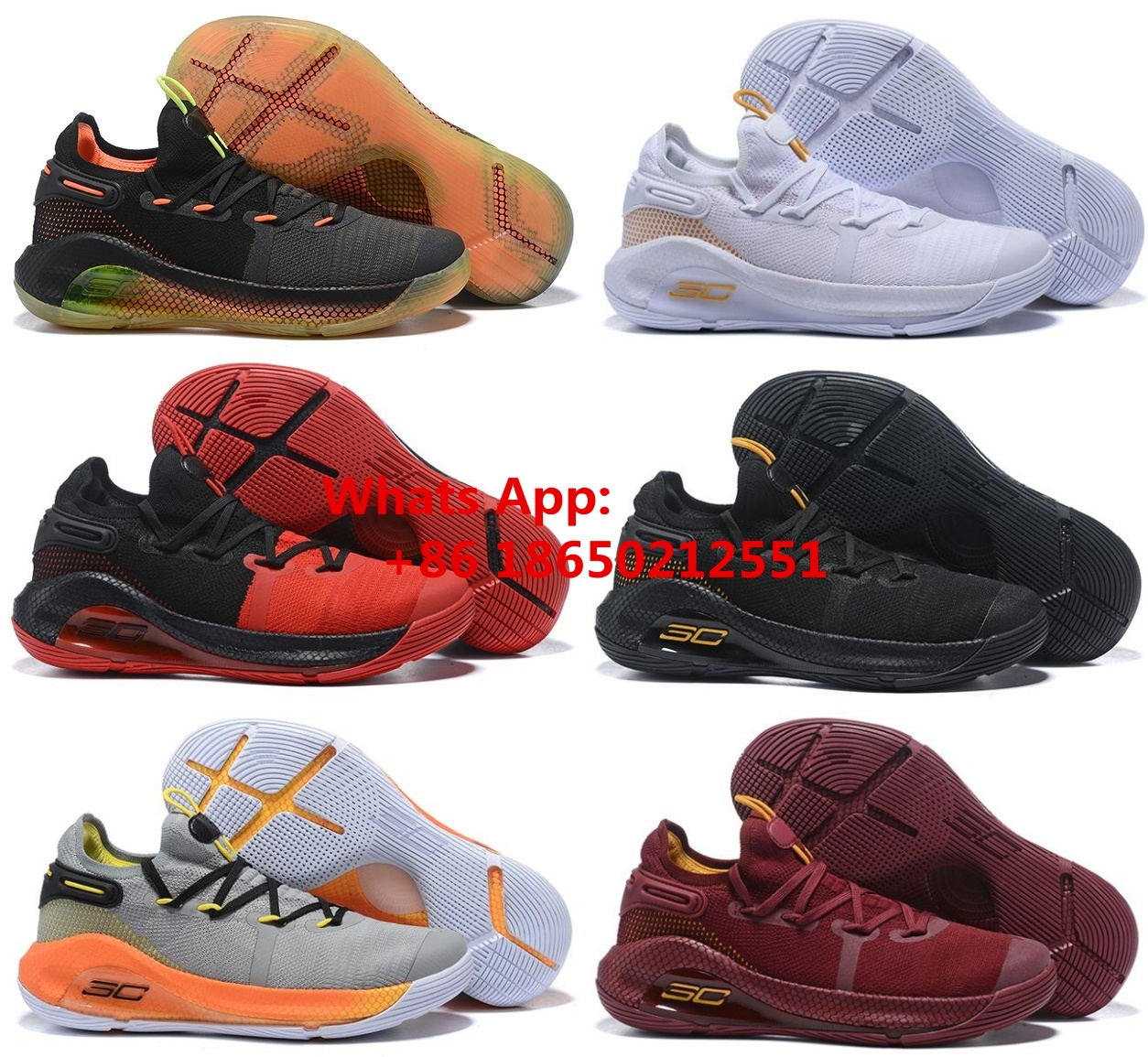 5b1c0b36467a Under Armour Curry 6 Triple Black Basketball Shoes For Men Color gold red  yellow white