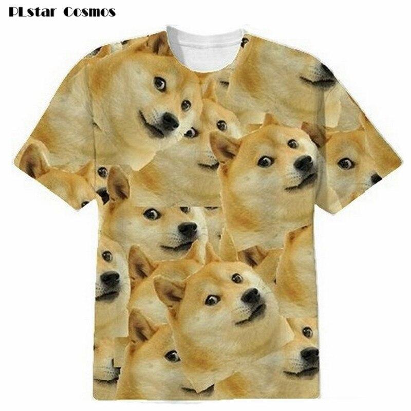 PLstar Cosmos 2018 New Women/Men Funny dog Head 3D Short sleeve T-shirt God shiba inu print 3d t shirt Tees Tops plus size 5XL