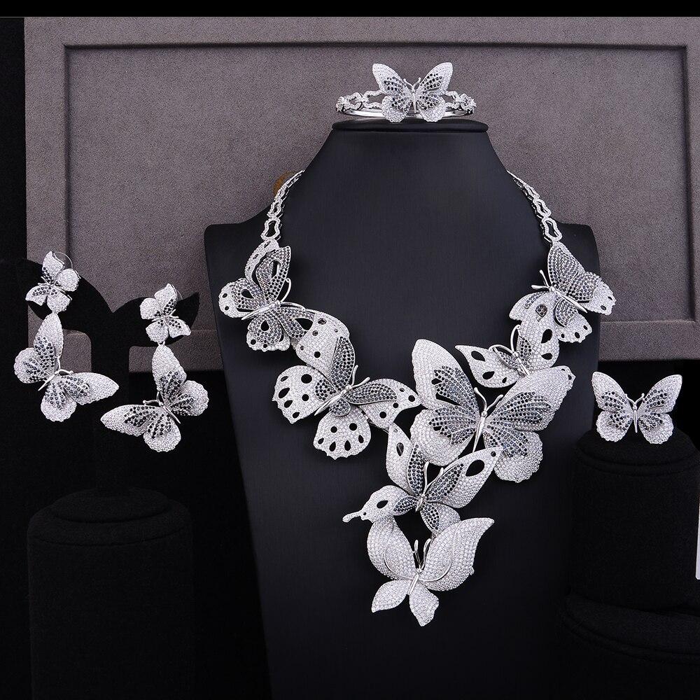 GODKI Luxury Lariat Butterfly African Cubic Zircon CZ Nigerian Jewelry sets For Women Wedding Dubai Gold Bridal Jewelry Set 2019