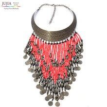 2017 nuevo collar de cuentas de turquesa étnica gitana bohemio maxi vintage choker collar collares y colgantes collares collier mujeres