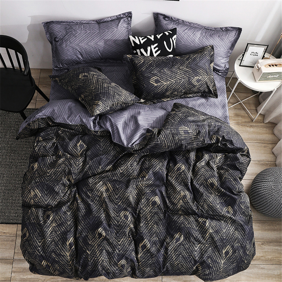 Gold Feather Bedding Set Royal Duvet Cover Sets King Size Black Luxury Style Bed Linens Standard Super Size Double Home
