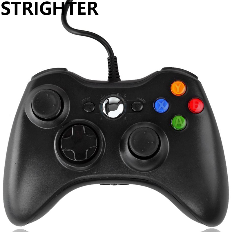 Strighter USB Wired Gamepad Black Controller white Joypad For Xbox 360 Joystick For Official Microsoft PC for Windows 7 / 8 / 10 gamepad usb wired joypad controller for microsoft for xbox slim 360 for pc for windows7 black color joystick game controller