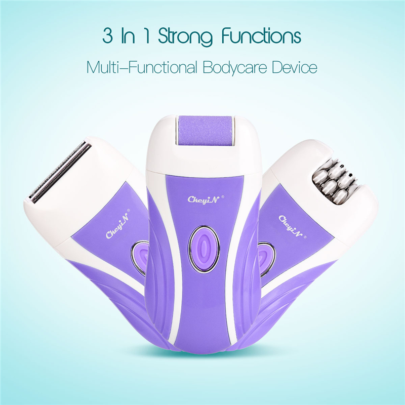 <font><b>3</b></font> <font><b>in</b></font> <font><b>1</b></font> Rechargeable <font><b>Epilator</b></font> Hair Shave Remover Cordless Lady Razor Trimer Clipper Callus Remove Heel Smooth Feet Grinding Head image