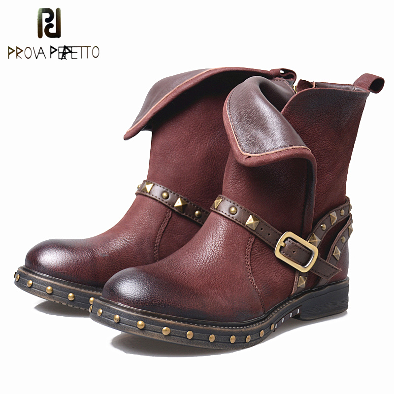 Prova Perfetto Genuine Leather Winter Boot For Women Low Heel Square Toe Knight Boots Rivet Studded Belt Thick Bottom Women Boot prova perfetto fashion round toe low heel mid calf boots feminino buckle belt thick bottom genuine leather women s martin boots