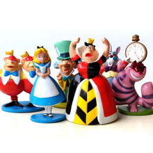 6pcs set Alice on Stand PVC Action Figure Alice In Wonderland Cake Topper Toys