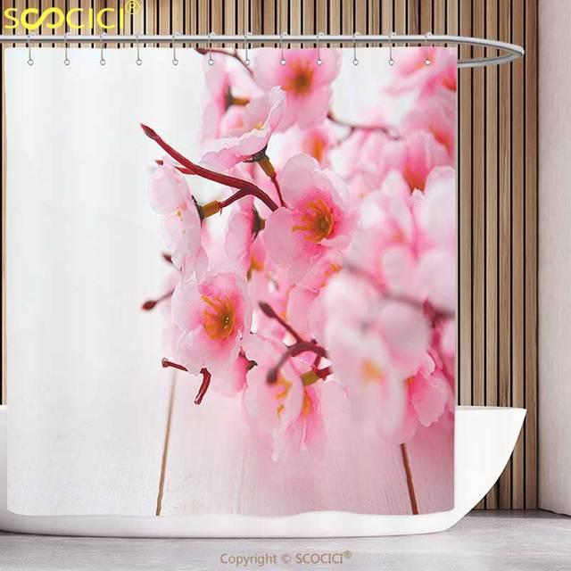 spa duschvorhang blumen kirschbl te bl tenbl tter fr hling saison r schen in weiche pastell. Black Bedroom Furniture Sets. Home Design Ideas