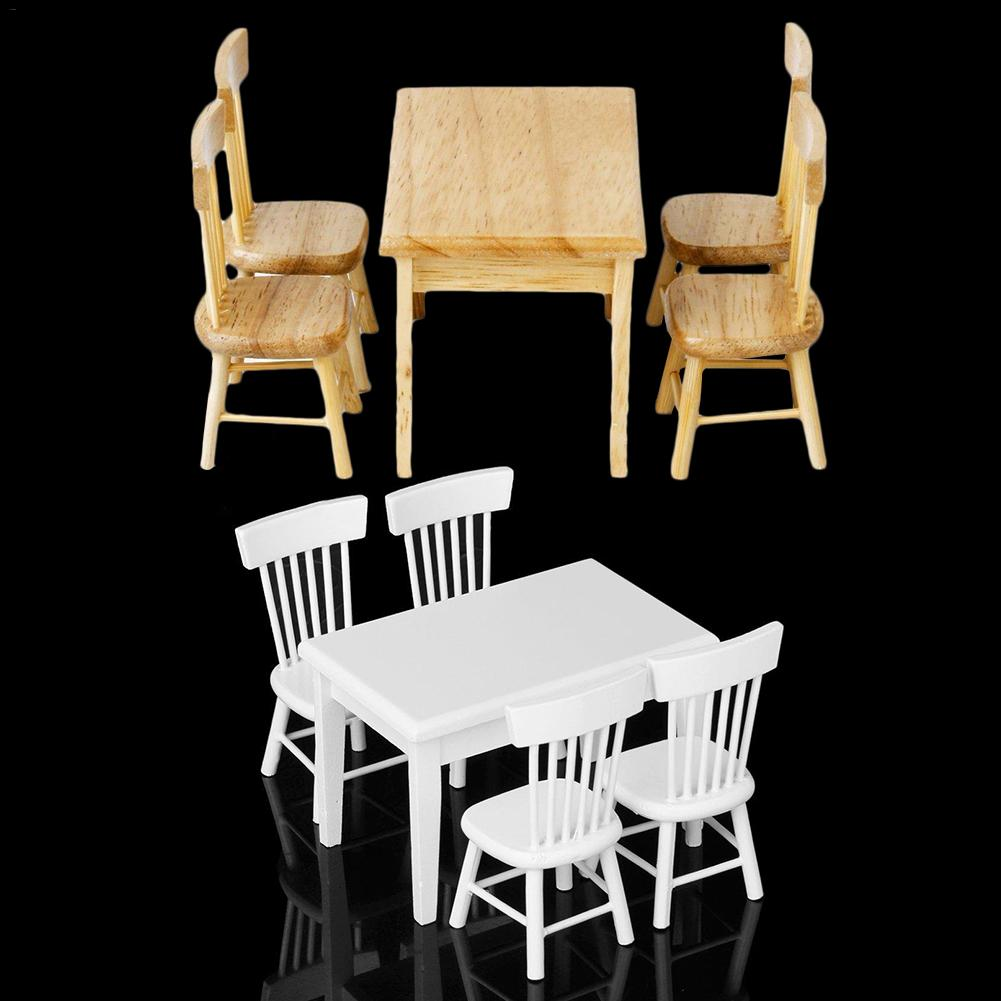 Magnificent Us 8 87 38 Off 5 Pcs Per Set 1 12 Table Chair Miniature Craft Wooden Dining Table Dollhouse Miniature Furniture Mini Dining Room Ornaments In Dolls Andrewgaddart Wooden Chair Designs For Living Room Andrewgaddartcom