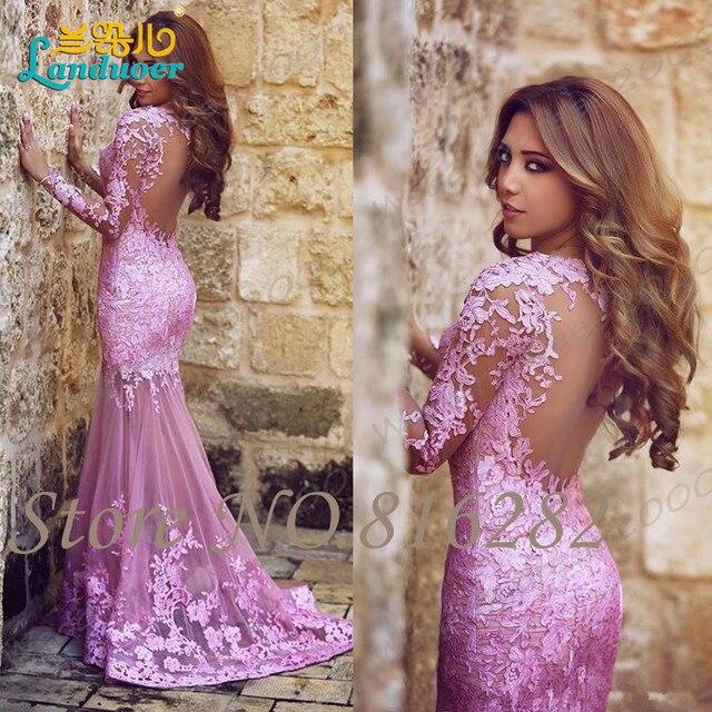 Said Mhamad Mermaid Tulle Applique Lace Plum Prom Dresses Sweetheart