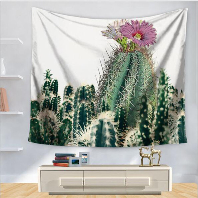 Cactus Tapestry Fresh Color Flowers Hanging Wall Beach Carpet Fashion  Polyester Beach Rugs Home Decor Tapestry