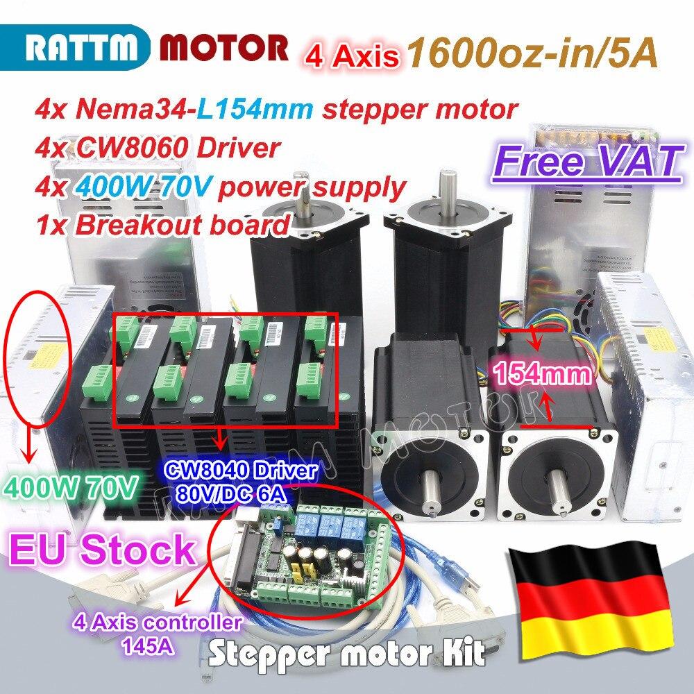 ¡La UE envío gratis IVA 4 eje de Nema34 Motor paso a paso 1600oz-in 12N! m 154mm de doble eje + CW8060 conductor 80VDC 6A CNC Kit de controlador