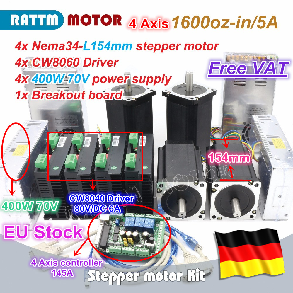 EU ship free VAT 4 Axis Nema34 Stepper Motor 1600oz-in 12N.m 154mm Dual Shaft+CW8060 Driver 80VDC 6A CNC Controller Kit de ship free vat 4 axis nema23 425 oz in dual shaft stepper motor cnc controller kit