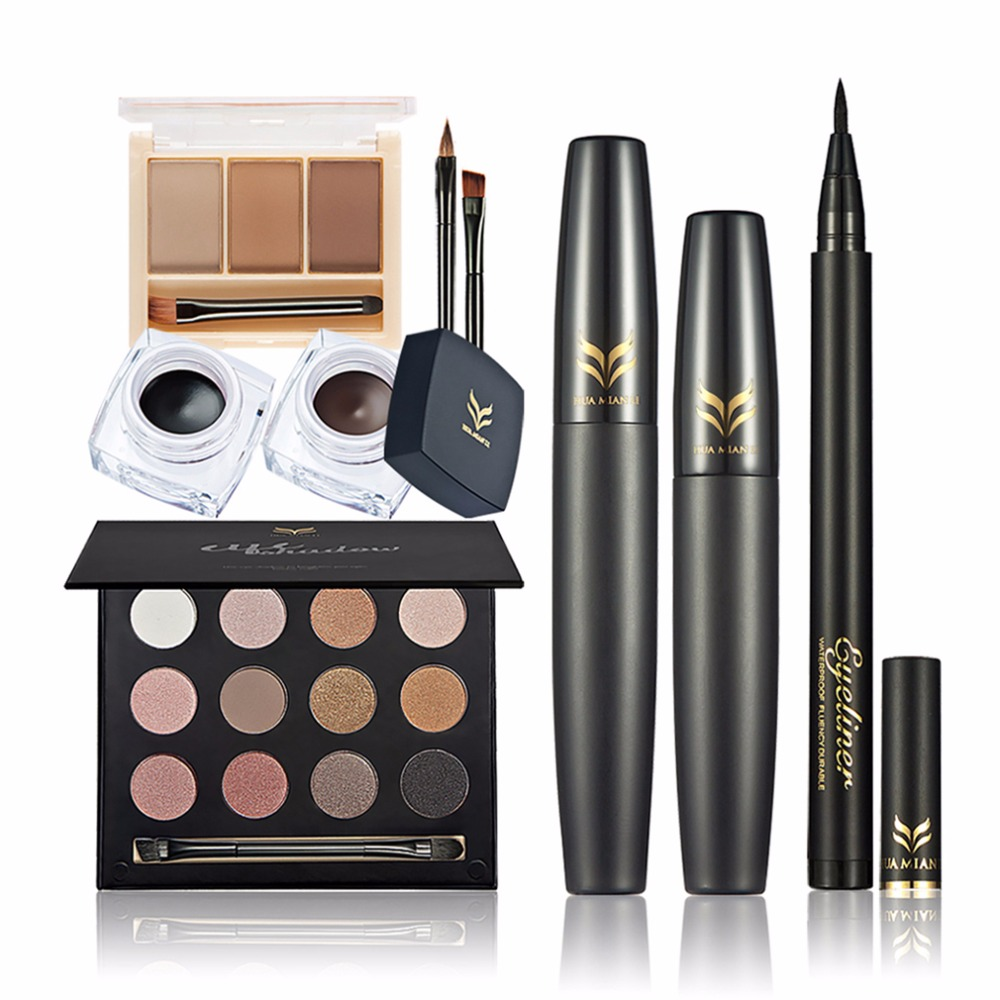 HUAMIANLI Makeup Set eye shadow eyebrow Eyeliner mascara Eyeliner Make-up cosmetics set Makeup Tool Kit Maquiagem learnever makeup set eye shadow eyeliner liquid eyebrow pencil mascara powder cake foundation lipstick blush concealer maquiagem