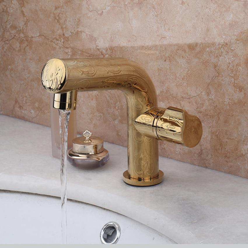 Luxury Bathroom Basin Sink Faucet Contemporary  Bathroom Gold Brass Faucets Stream Spout Deck Mount Mixer Taps luxury new bathroom faucet deck mount single handle gold brass bathroom basin sink faucet golden mixer taps stream spout
