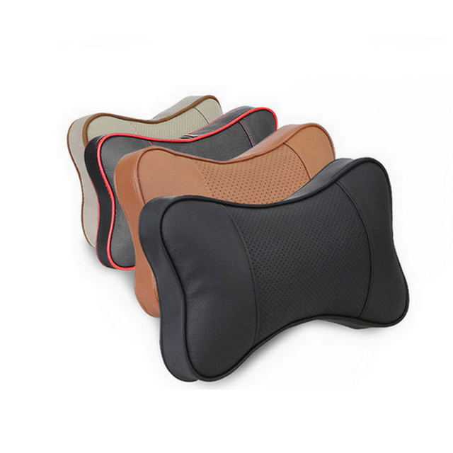 Car Styling 2pcs/set Leather Car Seat Head Neck Rest Cushion auto Headrest Pillows luxury head support fashion design classic