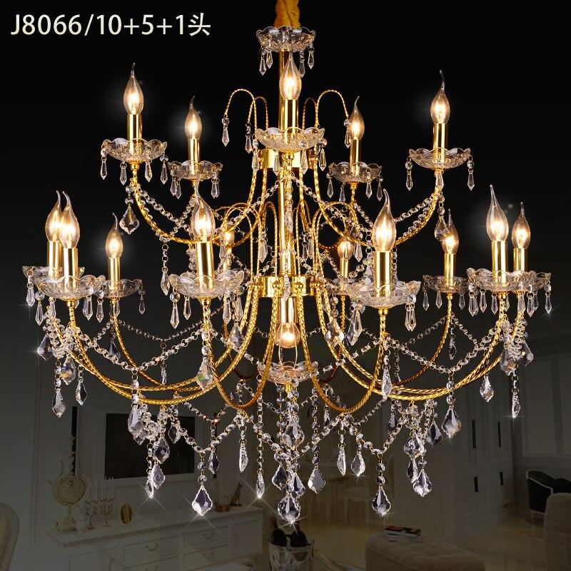 Lustre en Cristal d'or 16 lustres De conception moderne fournisseurs Kronleuchter Aus Kristall lampara De Cristal Techo à manger des lumières