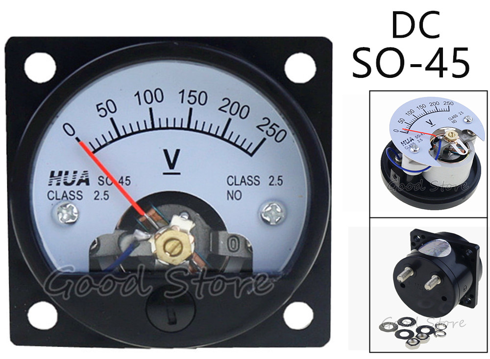 SO-45 DC 150V 250V 300V 450V 500V 750V Screw Mounted Voltage Panel Meter Voltmeter 47*47mm analogue dc 500v voltage panel meter white