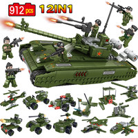 912pcs Military TYPE 99 Main Battle Tank Building Blocks Compatible Legoed Tank WW2 Police Soldier Figures Bricks Toys for Boys