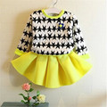 High quality New Spring Autumn Girls Clothing Sets Kids Clothes Girls Solid Skirt +Five Star Tops set Children Clothing, 2-7age